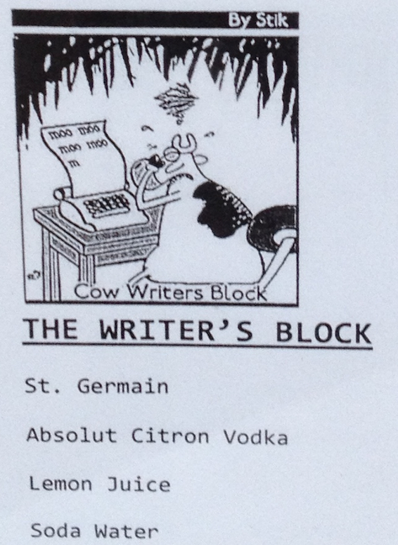 custom cocktail, writers block