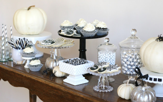 Glorious Treats Black and White Halloween Dessert Table